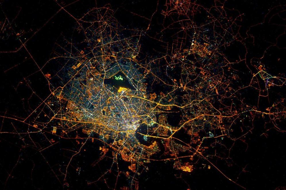 Ciudad de Ho Chi Minh, en Vietnam, de noche.