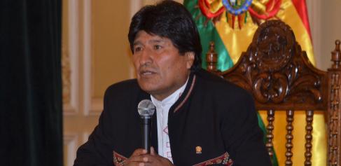 El presidente bolivariano, Evo Morales, en un discurso en el Palacio...