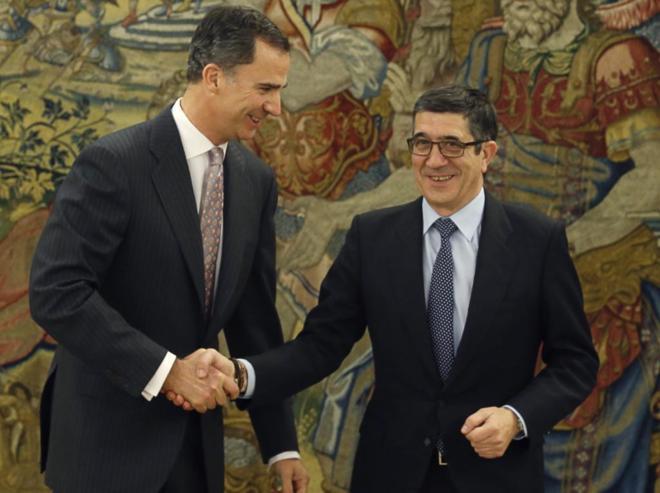 Felipe VI recibe a Patxi López esta mañana en la Zarzuela.
