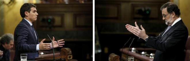 Albert Rivera y Mariano Rajoy, en distintos momentos de sus...