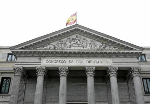 La fachada principal del Congreso de los Diputados.