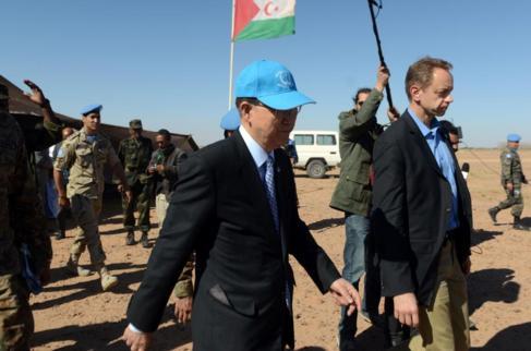 El Secretario General de la ONU, Ban ki-moon, durante su visita al...