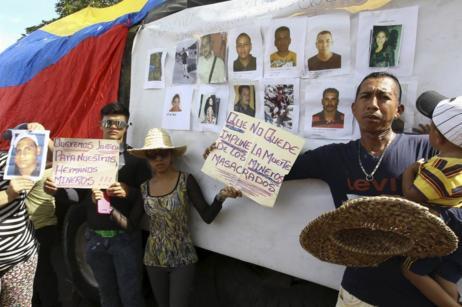 Protestas en Tumeremo exigiendo justicia.
