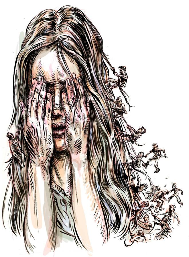 Ilustración de Ulises Culebro, sobre el asalto a las mujeres en...