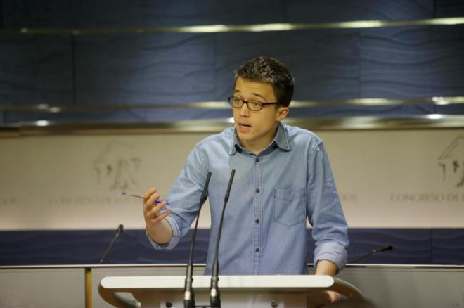 Íñigo Errejón, tras la junta de portavoces en el Congreso.