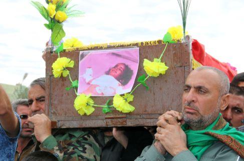 Funeral de Fatima Samir, de tres años, fallecida tras el ataque con...