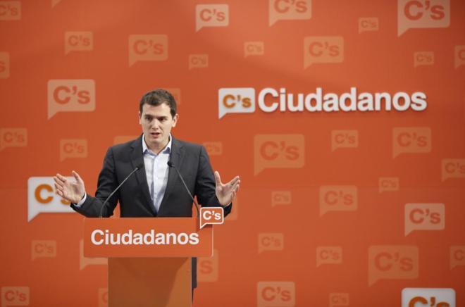 Albert Rivera, en rueda de prensa en la sede de Ciudadanos.