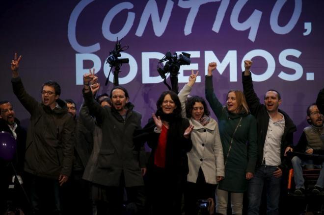 Pablo Iglesias, con la dirección de Podemos, en un acto durante las...