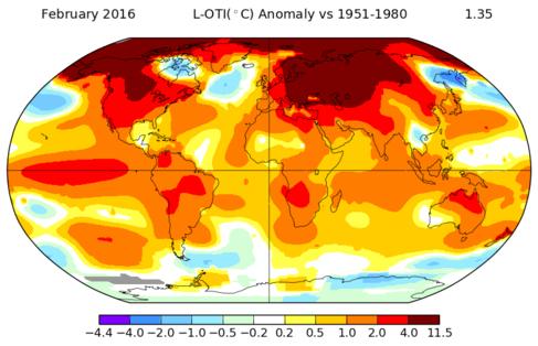 Temperaturas globales de febrero.