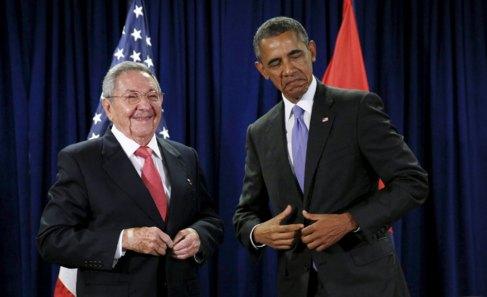 Obama y Castro en la Asamblea de la ONU en Nueva York el pasado...