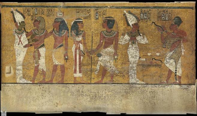 Pinturas en el interior de la tumba de Tutankamón.