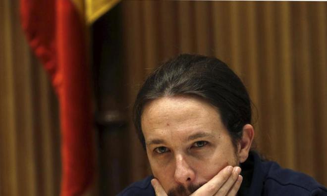 El secretario general de Podemos, Pablo Iglesias, ayer, en un acto en...
