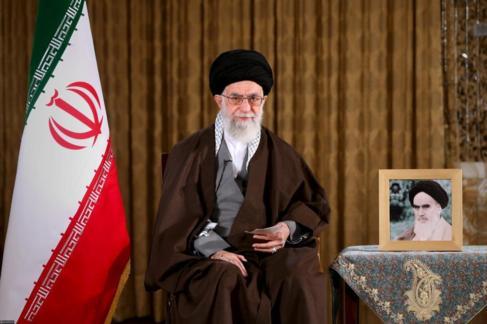 El líder supremo de Irán durante su discurso con motivo del nuevo...