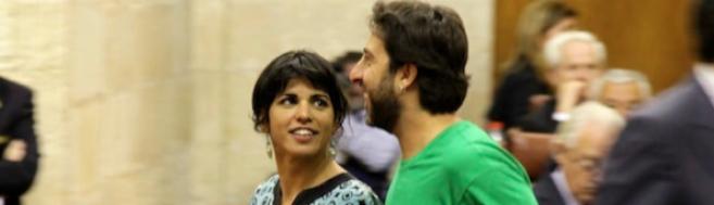 Teresa Rodríguez y su secretario de Organización, Jesús Rodríguez,...