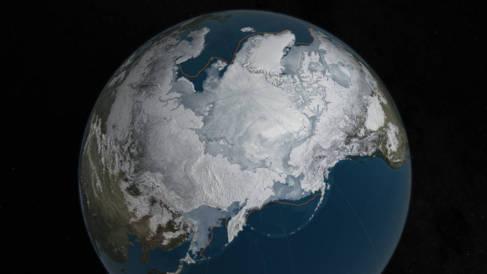 Recreación de la capa de hielo de este año y los límites de la...