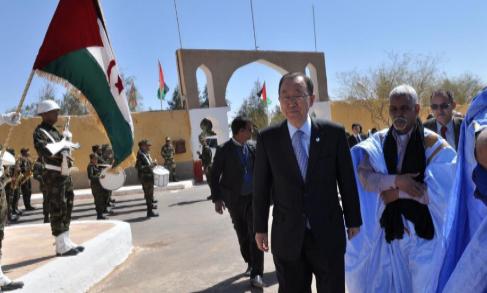 El Secretario General de la ONU, Ban Ki-moon, en el campo de...