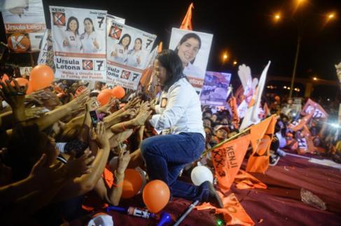 Keiko Fujimori, en un mitin electoral en Lima.