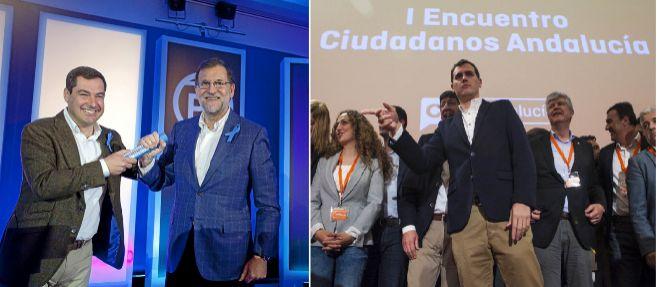 Moreno, Rajoy y Rivera, en los actos del PP y C's en Sevilla y...