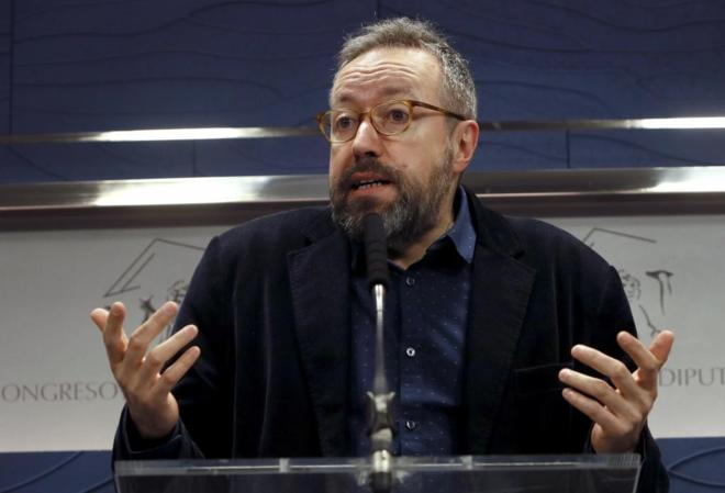 Juan Carlos Girauta, en la rueda de prensa ofrecida en el Congreso.