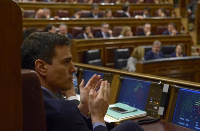 El líder del PSOE, Pedro Sánchez, ayer en el Congreso.