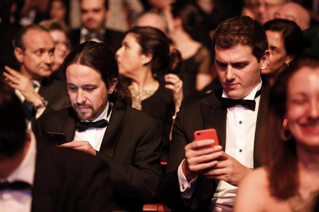 Pablo Iglesias y Albert Rivera, en la gala de los Premios Goya de...