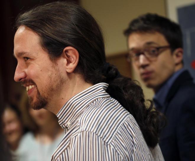 Pablo Iglesias e Íñigo Errejón, hoy en el Congreso.
