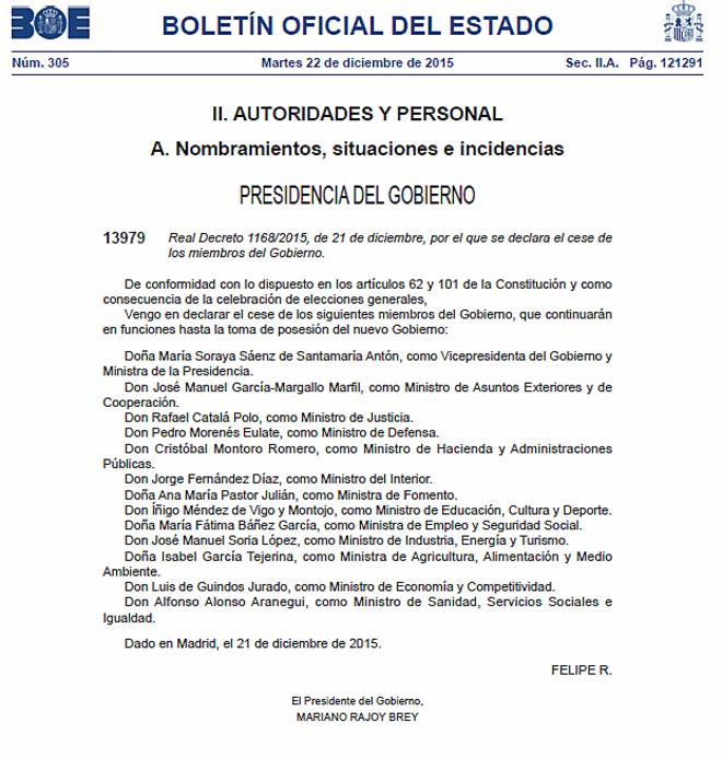 El Real Decreto publicado en el BOE que declara el cese de todos los...