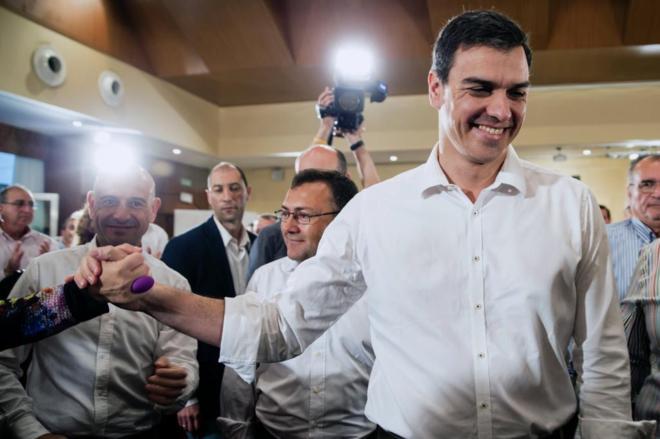 Pedro Sánchez, en el acto con militantes del PSOE celebrado en...