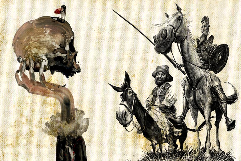 Ilustraciones: Don Quijote y Sancho, por Ricardo, y Hamlet, por Raúl...