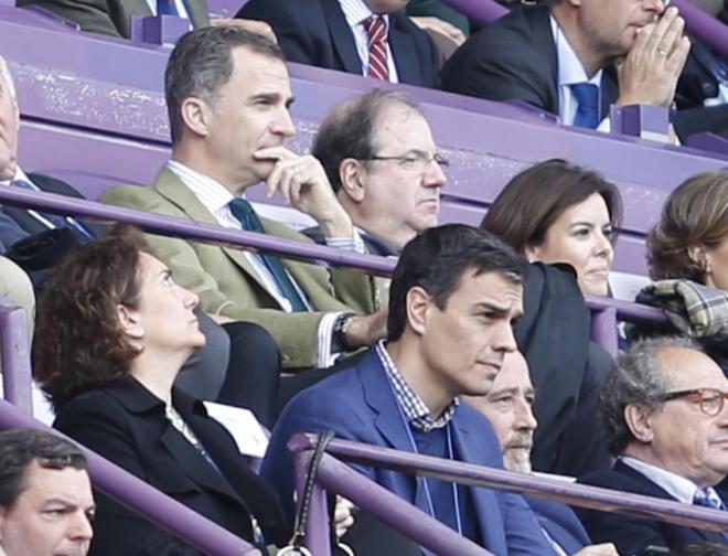 Pedro Sánchez, ayer en el palco del estadio José Zorrilla de...