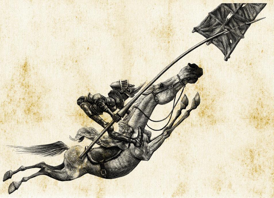 Don Quijote cabalga sobre Rocinante para luchar contra los gigantes....