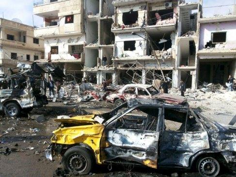 Una escena de la ciudad de Homs tras los bombardeos del régimen...