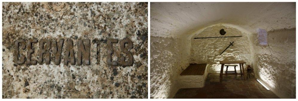 Una inscripción con el nombre de Cervantes en una tumba en el cementerio de Alcázar de San Juan. A la derecha, la cueva donde supuestamente Miguel de Cervantes escribió parte de 'El Ingenioso Hidalgo Don Quijote' mientras estaba encarcelado.