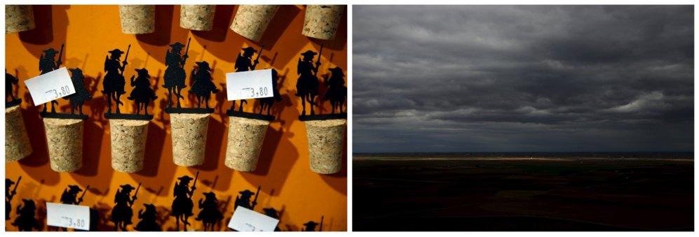 Varios tapones de corcho con las figuras de Don Quijote y Sancho Panza se venden en Puerto Lápice. A la derecha, el horizonte de La Mancha visto desde El Cerro de San Antón.