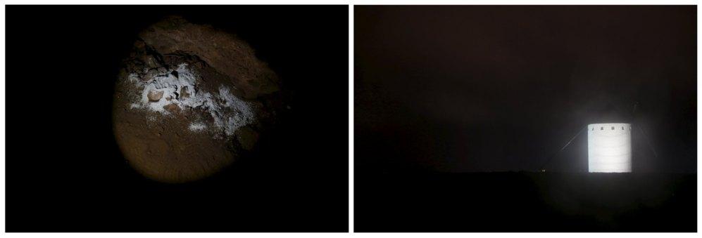 Un molino bajo la lluvia en Campo de Criptana. A la izquierda, en la cueva de Montesinos, las cenizas de Bob, conocido como 'El Quijote Inglés', un británico que falleció en enero y que durante años escenificó el personaje del Quijote junto a la cueva.