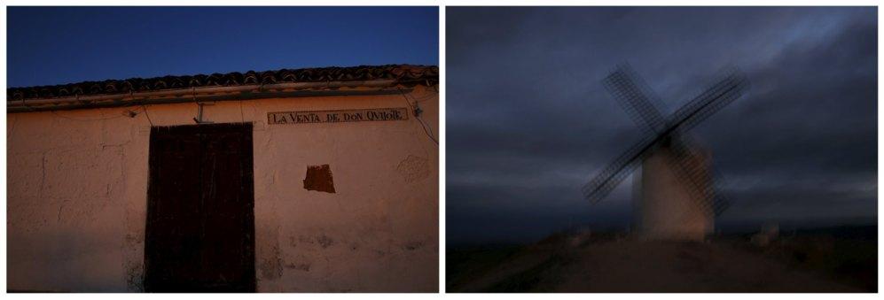 Una vieja posada llamada 'La Venta de Don Quijote' a las afueras de El Toboso. A la derecha, unos molinos sobre el atardecer en Consuegra.