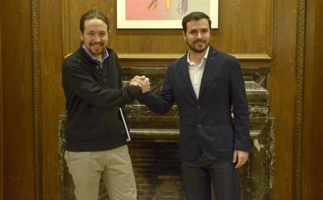Pablo Iglesias y Alberto Garzón, en una reunión en el Congreso en...