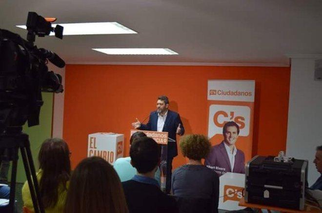 Miguel Gómez, portavoz de Ciudadanos Murcia, durante un acto del...