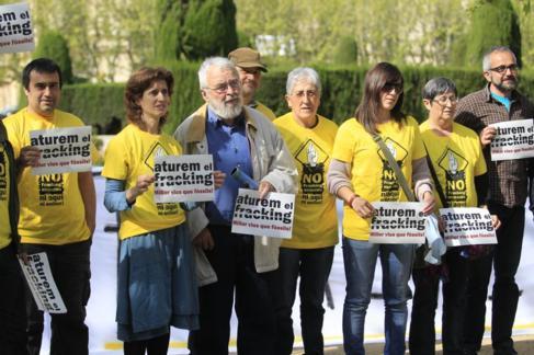 Protesta contra el fracking en la comarca de Osona (Cataluña).