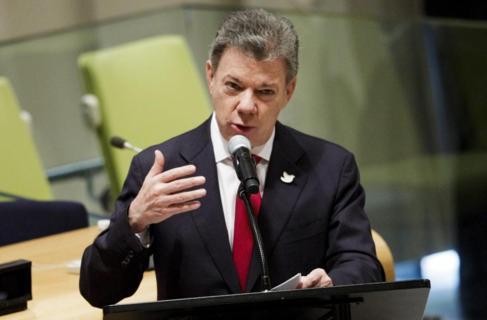 El presidente de Colombia, Juan Manuel Santos, durante una...