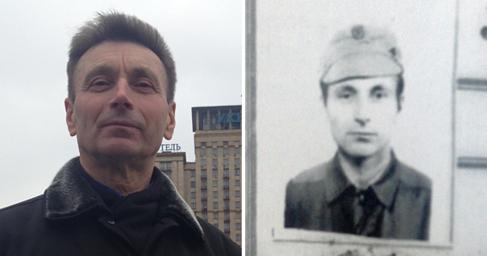 Vladimir en la actualidad y en una antigua identificación de...