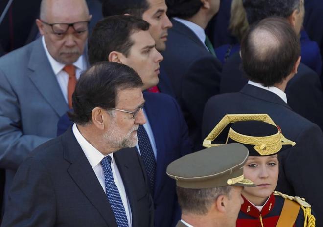 Mariano Rajoy y Albert Rivera, en los actos del 2 de Mayo ayer en...