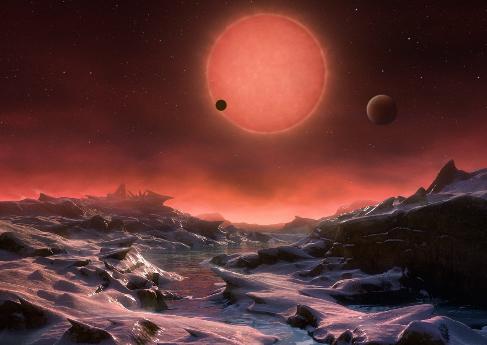 Recreación artística de los tres nuevos planetas.