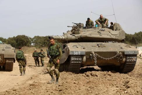 Soldados israelíes en la frontera entre la Franja de Gaza e Israel.