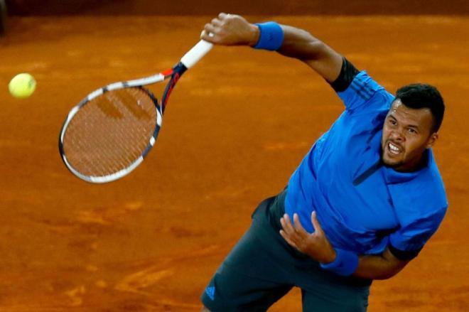 El tenista francés Jo-Wilfried Tsonga, en un partido del  Mutua...