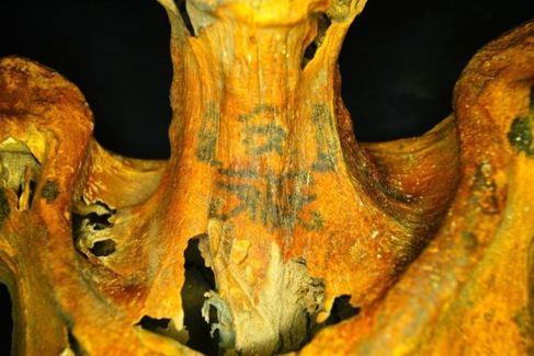 La momia con tatuajes en el cuello.