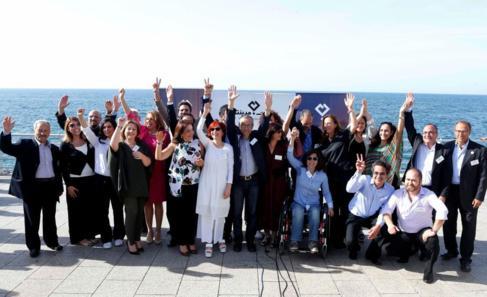 Candidatos de Beirut Madinati tras el anuncio de su lista para las...