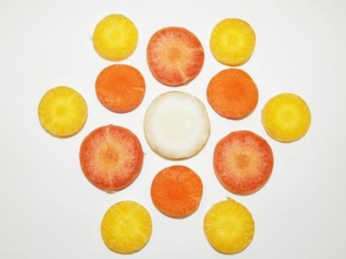 Rodajas de distintas zanahorias que muestran la variedad de colores de...