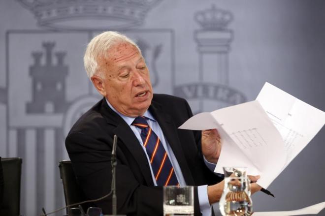 El Ministro de Asuntos Exteriores Jose Manuel Margallo en una rueda de...