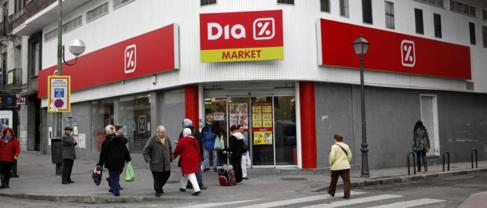 Entrada principal de un supermercado Dia, en Madrid.
